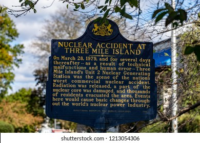 Middletown, PA, USA - October 21, 2018: Historic Marker near Three Mile Island Nuclear power generating station, commonly known as TMI.