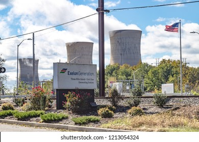 Middletown, PA, USA - October 21, 2018: Three Mile Island Nuclear power generating station, commonly known as TMI, is the site of USA worst nuclear accident.
