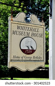 Middletown, Rhode Island - July 16, 2015: Sign at the historic 1729 Whitehall Museum House, home of George Berkeley