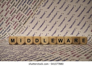 middleware - cube with letters and words from the computer, software, internet categories, wooden cubes