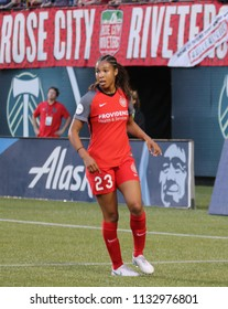 Midge Purce midfielder for the Portland Thorns at Providence Park in Portland Oregon USA July 6,2018.