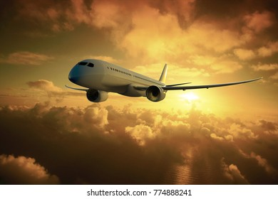 Mid-haul modern commercial aircraft crossing to the sunset
