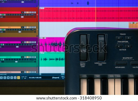 Midi Keyboard Controller Faders Buttons Waveforms Stock
