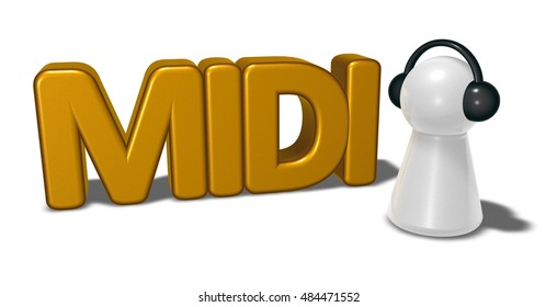 midi tag and pawn with headphones - 3d rendering