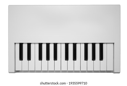 Midi-keybaord isolated on a white background with no knobs or pads