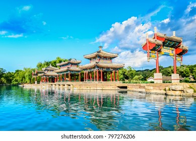 The Mid-lake Pavilion of Chengde Mountain Resort. It is a large complex of imperial palaces and gardens situated in the city of Chengde in Hebei, China.