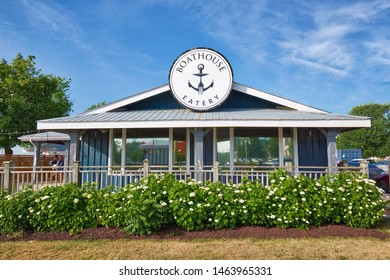 Midland, Canada-15 July, 2019: Restaurants in in Midland town main harbor located on Georgian Bay in Simcoe County, Ontario, Canada