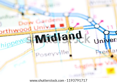 Midland Michigan Usa On Map Stock Photo Edit Now 1193791717