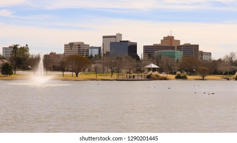 Midland, Texas - January 20, 2019: Downtown as Viewed from Wadley Barron Park