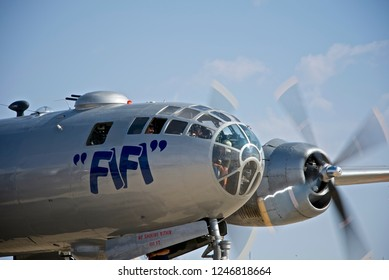 """Midland, Texas / USA - Oct. 12 2013: B-29 Superfortress """"FIFI"""" taxis to takeoff position during the CAF Airsho Midland."""