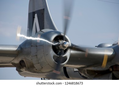"Midland, Texas / USA - Oct. 12 2013: B-29 Superfortress ""FIFI"" taxis to takeoff position during the CAF Airsho Midland."