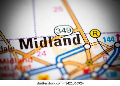 Midland. Texas. USA on a map