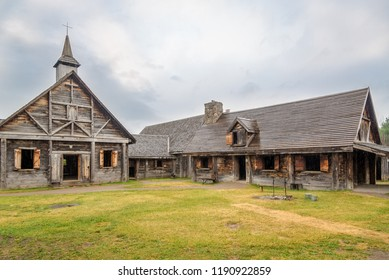 MIDLAND,CANADA - JUNE 27,2018 - Museum of Sainte Marie among Hurons near Midland. Sainte Marie Among the Hurons was designated a National Historic Site of Canada in 1920.