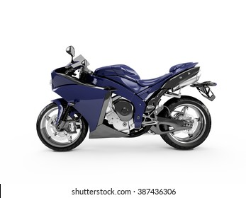 Midnight Blue motorcycle isolated on a white background.