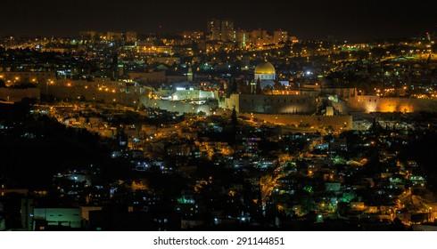 Midnight panorama of Jerusalem city, Israel