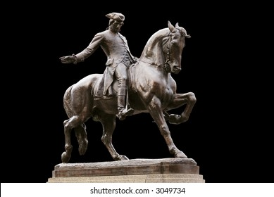The Midnight Ride of Paul Revere. Bronze statue of the iconic American hero, located in the historic North End neighborhood of Boston, Massachusetts.