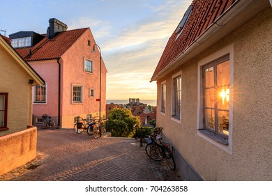 Midnight summer sunset in Visby Old Town, in Swedish island of Gotland, Sweden