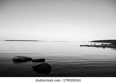 Midnight sun, fog, woods and swedish summer in norrland,