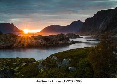 Midnight sun at Henningsvaer on the Lofoten islands