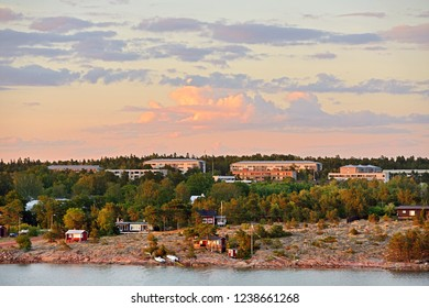 Midnight sun in Mariehamn, capital of Aland Islands. Finland