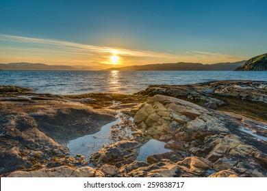 Midnight sun near Alta in Finnmark, Norway