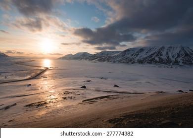 Midnight sunset. Svalbard, Norway