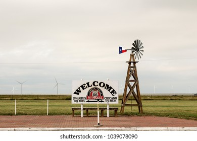 Midpoint sign at Adrian, Texas
