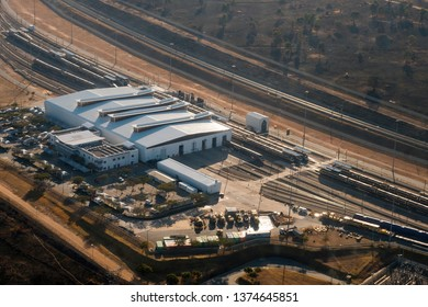 MIDRAND, SOUTH AFRICA-JULY 21 2018: Aerial view of the Gautrain maintenance workshop depot