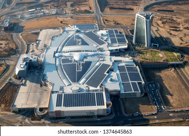 MIDRAND, SOUTH AFRICA-JULY 21 2018: Aerial view of the Mall of Africa in Waterfall City showing numerous roof mounted solar panels