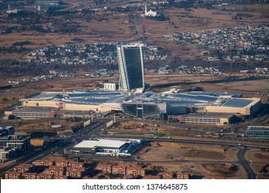 MIDRAND, SOUTH AFRICA-JULY 21 2018: Aerial view of the Mall of Africa in Waterfall City and surrounding area