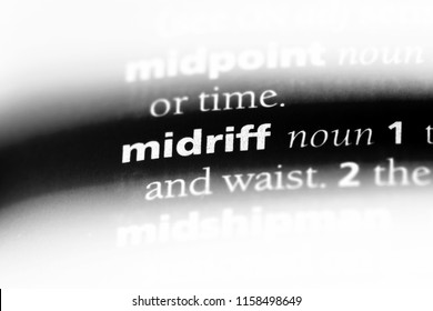 midriff word in a dictionary. midriff concept.