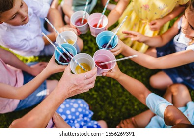 Midsection of small children sitting on ground outdoors in garden in summer, drinking.