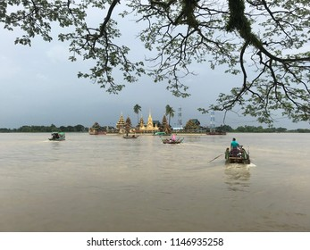 "Midstream ""Kyauktan Pagoda"" Floating temple in Myanmar"
