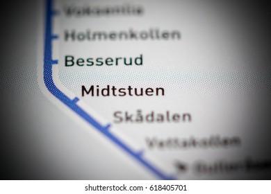 Midstuten Station. Oslo Metro map.