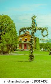 Midsummer cross in Tradgardsforeningen, the Garden Society park, Gothenburg city downtown