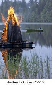 Midsummer fire in Finland