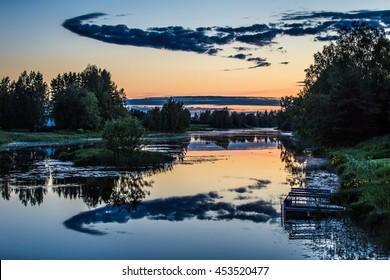 Midsummer night at Finnish river