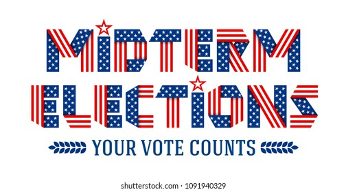 Midterm Elections invitation banner. Text made of folded ribbons with USA flag's stars and stripes.