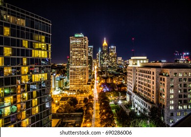 Midtown Atlanta Georgia at night time.