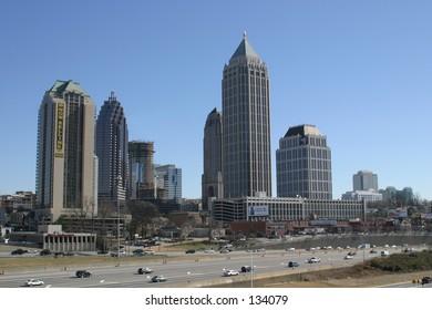 Midtown Atlanta, Georgia Skyline next to the I75 I85 Connector