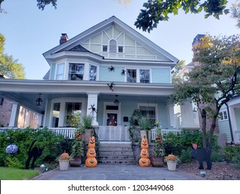Midtown, Atlanta, Georgia / The United State - October 13, 2018 : Halloween Pumpkins in front of house at Piedmont park.