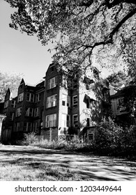 Midtown, Atlanta, Georgia / The United State - October 13, 2018 : Old beautiful House in black and white background at Piedmont park