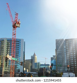 """Midtown, Atlanta, Georgia / The United State - October 28, 2018 : Afternoon bright sunshine city view and the construction crane in midtown at """"Spring St, NW"""""""