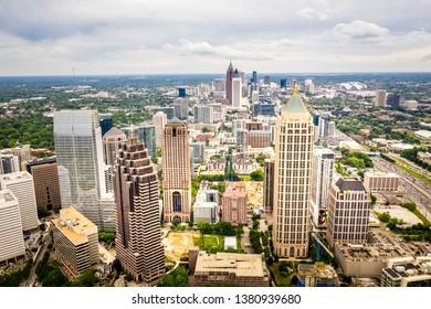 Midtown Atlanta, Georgia, United States - April 25 2019: Aerial view Midtown Atlanta