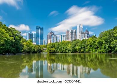 Midtown Atlanta skyline from the park in USA