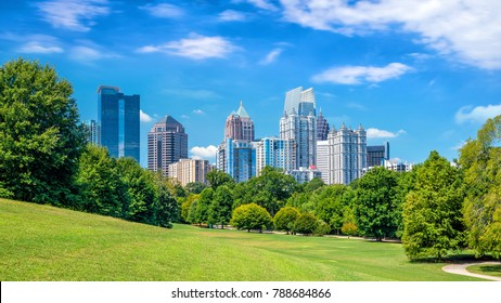 Midtown Atlanta skyline from the park in USA