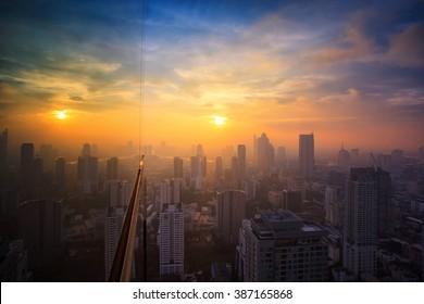 Midtown city in Bangkok sunset time