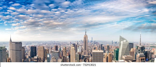 Midtown and Lower Manhattan aerial view on a beautiful sunny day - New York.
