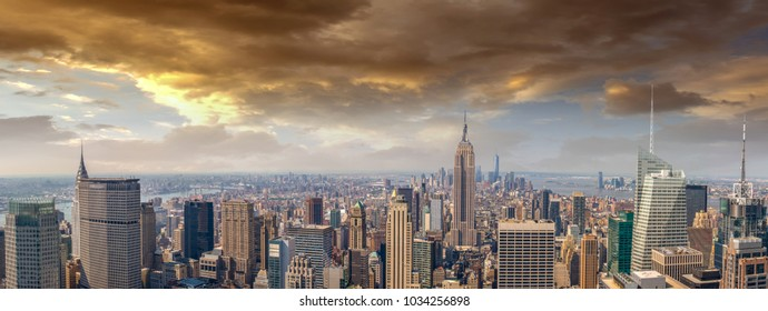 Midtown and lower Manhattan in New York City from high perspective.