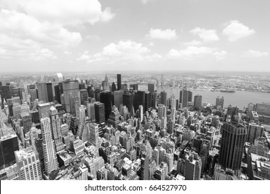 Midtown Manhattan aerial view, NYC. Black and white vintage style.